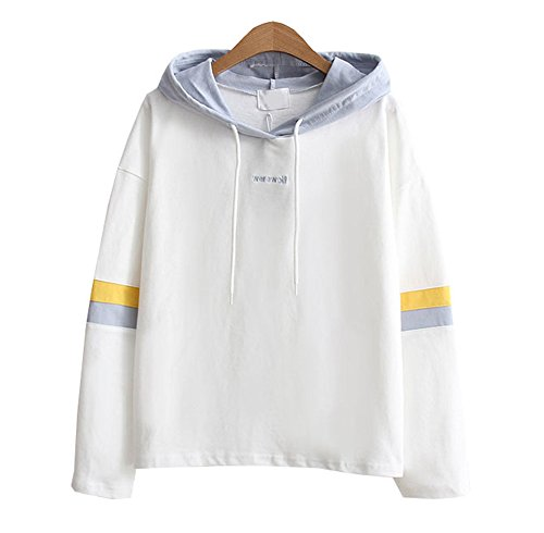 All-star Langarm-t-shirt (DaBag Damen Herbst Kapuzenpullover Kawaii Sweatshirts Studentisch Pullover Langarm Sweater Lose T-shirts (One size, Weiß))