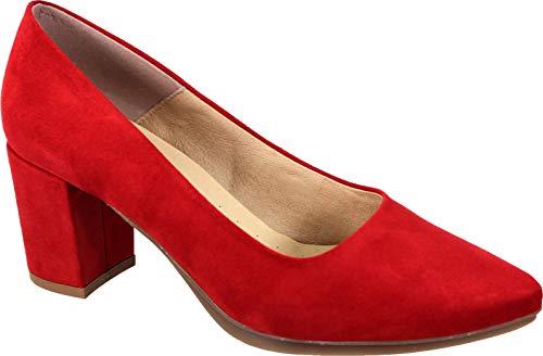 WUAPAS 4703 - Zapato Mujer Salón Stiletto Tacón Ancho 6 cm. 38 EU, Rosa