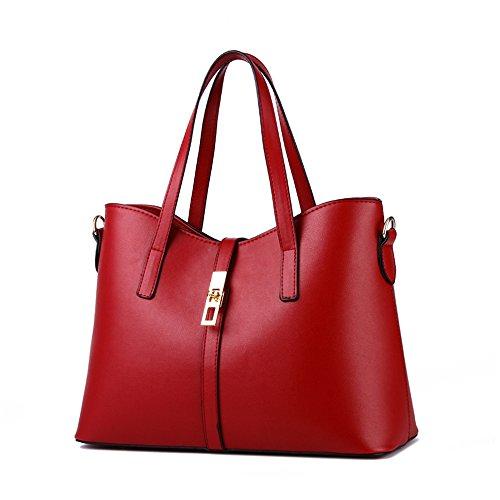 Myleas Donna Borsa a Tracolla Borsetta Shopper Borse con Cinturino Vino
