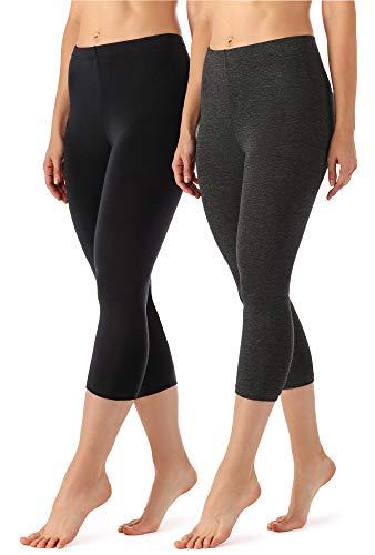 2 Pack Fashion Legging (Merry Style Damen Leggings 3/4 aus Viskose 2 Pack MS10-144 (Schwarz/Dunkelmelange, XL (Herstellergröße: 42)))