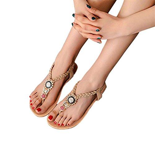 LHWY Damen Bohemia Sweet Beaded Sandalen Clip Toe Sandalen Strand Schuhe Beige