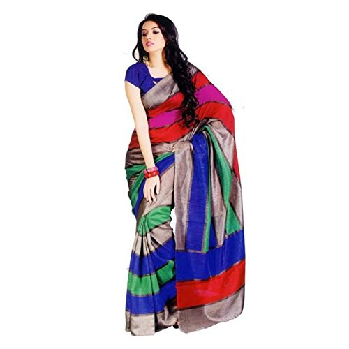 Saree (Woman`s Clothing Saree For Woman Latest Desigen Wear Sarees Collection In Multi-Color Bhagalpuri Silk Material Latest Sarees With Designer Blouuse Free Size Beautiful Bollywood Sarees For Woman