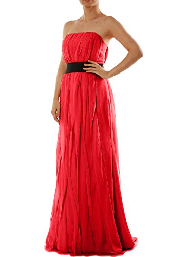 MACloth Women Strapless Long Bridesmaid Dress Chiffon Formal Party Evening Gown Rot