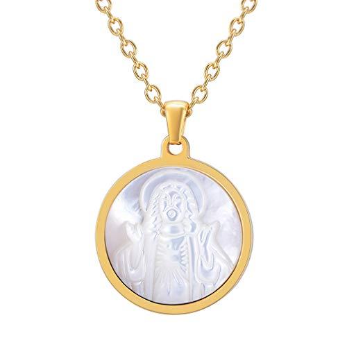 Colgante de Medallón Circular de Santo Jesús Acero Inoxidable Chapado en Oro Amarillo Dorado Cadena Ajustable Collar para Hombre y Mujer