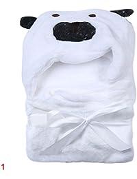 niceEshop(TM) 3D Chien Peignoir de Bain à Capuche pour Bébé (Blanc)