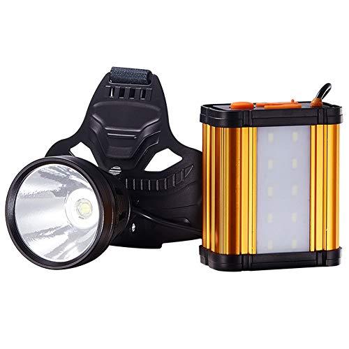 LGPNB Camping Licht 3-in-1 LED Scheinwerfer und mobiles Ladegerät 16000mAh Super Große Kapazität Akku Super Hell 2800 Lumen Scheinwerfer Leuchtweite 800 Meter - Hüte 8 1 2 Ausgestattet Größe