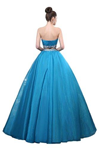 Prom Style Damen Prinzessin Strass Traegerlos Abendkleider Ballkleider Cocktailkleider Partykleider A-Linie Lang Tanzenkleider Dunkelrot