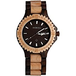 Wood Watch, Hansee Men's Watches by Bewell, Analog Quartz Movement Day Display Vintage Wooden Watch (C)