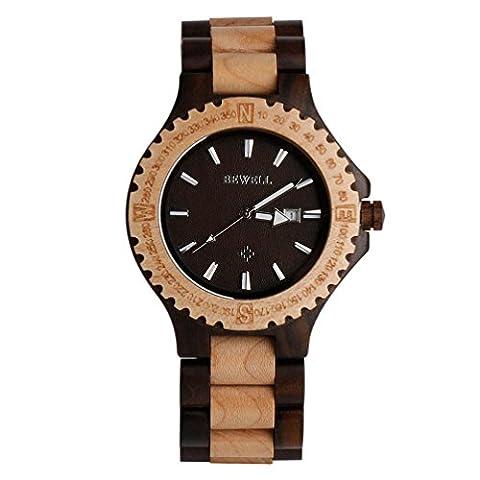 Wood Watch, Hansee montres pour homme par Bewell, Mouvement à quartz analogique jour Affichage montre en bois vintage (C)