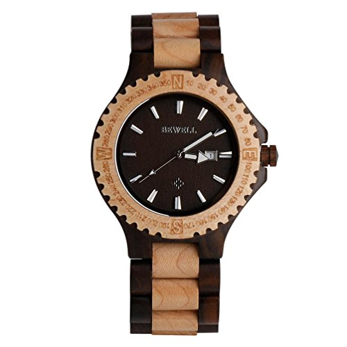 ren Uhren By Bewell, Analog Quarzwerk Tag Display Vintage Holz Armbanduhr (C) (Halloween Uomo Idee)