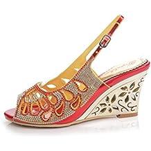 QPYC Sandalias de boca de pescado zapatos romanos de tacón fino diamante zapatos de tacón alto de cristal sandalias de hebilla de diamantes de imitación de gran tamaño 43 44 , red (wedge heel) , 36
