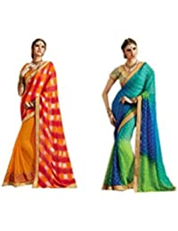 Mantra Fashions Women's Georgette Saree (Mant25_Multi)-Pack of 2
