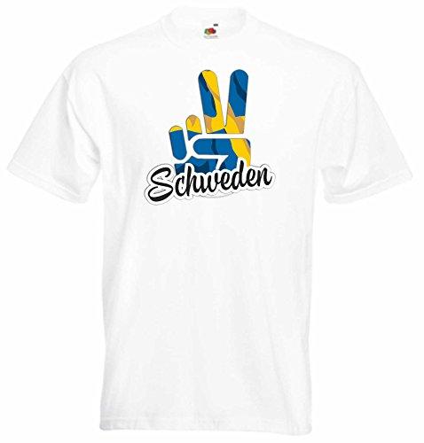 Black Dragon - T-Shirt Herren - JDM/Die Cut - Weiß - Flagge/Fahne - Schweden - Victory - Sieg - XXL - Fussball Sport Boxen Fight - Fasching Party Geschenk Funshirt
