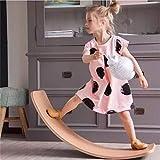 DingD Altalena per Bambini in Legno Balance Boards Bambini Balance Board Multi-Activity Curvy Giocattoli educativi per Wobble Spin Home Gym Fitness Legno Wobble Balance Board