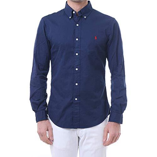 Ralph lauren camicia slim fit in cotone 710741788 navy size:s