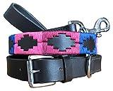 CARLOS DIAZ Zusammengehöriges Set Aus Gewachstem, Besticktem Polo-Hundehalsband Und Hundeleine, Echtes Leder L