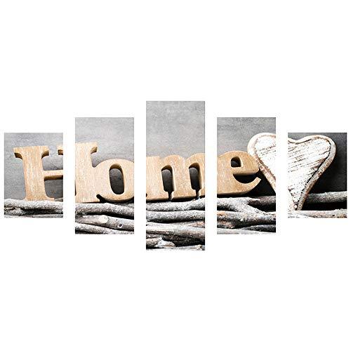5D DIY Vollbohrer Diamant Malerei 5-bilder Kombination Handwerk Kreuzstich Kits Set Kunstwerk Nacht Szene Muster Für Wohnzimmer Wand Stricker Decor (D) -