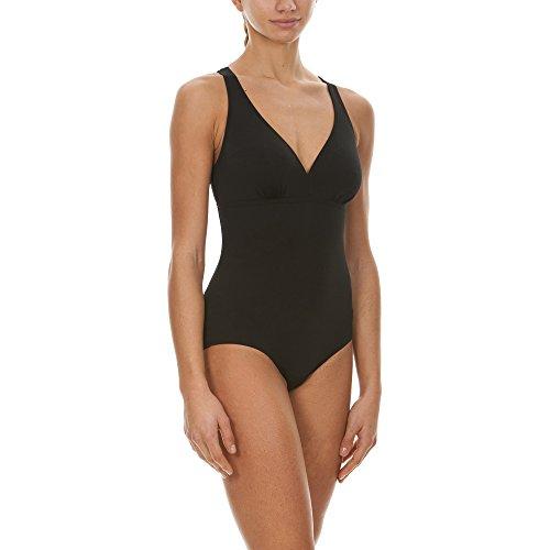 arena Damen Sport Badeanzug May Low (Schnelltrocknend, UV-Schutz UPF 50+, Chlorresistent, V-Ausschnitt), Black (50), 46