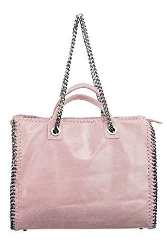 """BERNSTYN cuir véritable souple brillant (effet), «lady santoro """"sac à main sac à bandoulière, Koralle (Rouge) - 4251061707421 rose"""