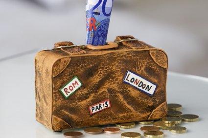 Spardose Koffer Urlaubskasse Figur Urlaub Sparschwein