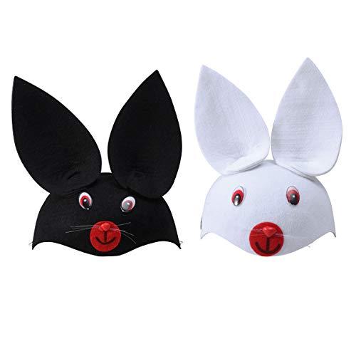 Bunny Kostüm Niedlichen - Amosfun 2 stücke Bunny Hat Rabbit Cap Halloween Kostüme Niedlichen Kaninchen Performance Cartoon Cap Headwear Vlies Tier Hut Cosplay Decor