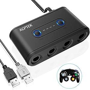 AGPTEK 3 in 1 Gamecube Controller Adapter für Nintendo Switch, Wii U und PC, Gamecube Konverter Controller mit 4 Port und Turbo- und Home-Tasten, USB Plug & Play, Schwarz