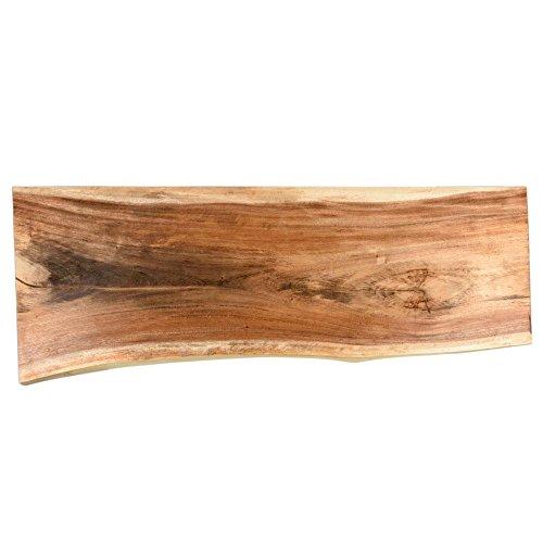 wohnfreuden Suar Waschtischplatte für Doppelwaschbecken XXL geschliffen 180x50x10cm Holzplatte Massivholz Baumstamm