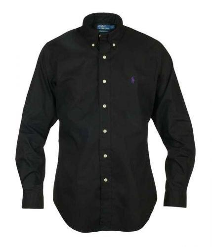 Ralph Lauren Herren Hemd, Schwarz, Lila Pony, Custom Fit, S