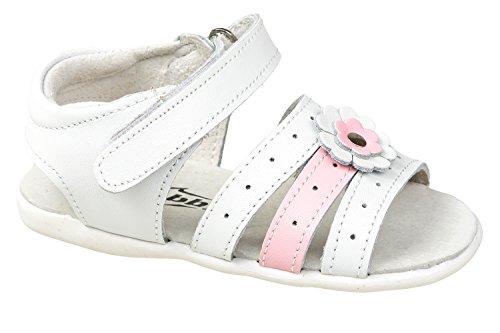 gibra Leder Sandalen für Babys und Kleinkinder, Weiß/Rosa, Gr. 23 (Kinder Kleinkind Schuhe Fuchsia)