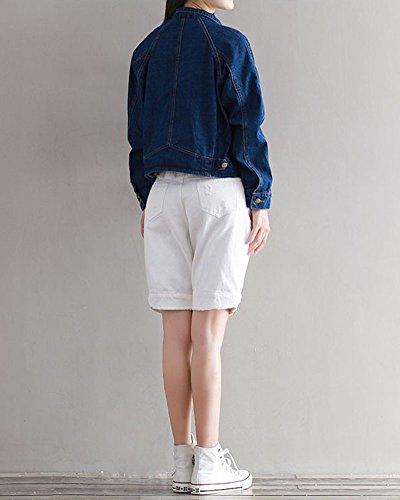 Femme Revers Veste En College Vent Slim Courts Denim Manteaux Bleu foncé