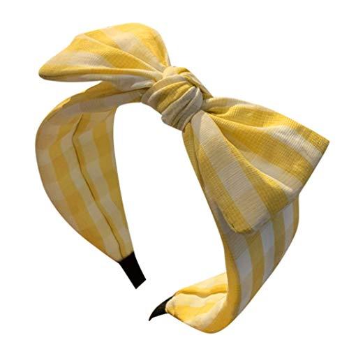 and Clearance!!!Damen Boho Stretchy Wide-Krempe Bow Haarband Zubehör Haarspangen Gestreift Stirnbänder(Gelb) ()