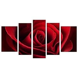 Tableau Multi Panneaux rose sur toile 110x60 cm rouge et noir