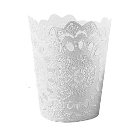 Papierkorb, iTECHOR Solide Hohlmuster Abfalleimer Papier Mülleimer Dustbin ohne Deckel - Weiß