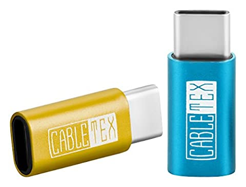 Micro USB 2.0 zu USB Typ-C Adapter Set [2 Stück] mit Aluminium Metall-Gehäuse für MacBook Pro, MacBook 12