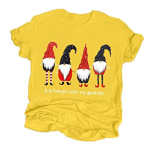 Zylione Mode Christmas Shirt Weihnachtsmann Drucken Tops Weihnachten Kurzarm T-Shirt Bluse Rundhals Shirt Weihnachts Geschenk Oversize Weihnachten Kleidung