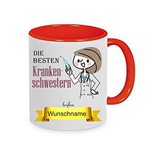 crealuxe Tasse m. Wunschname Krankenschwestern heißen. Wunschname - Kaffeetasse mit Motiv,...
