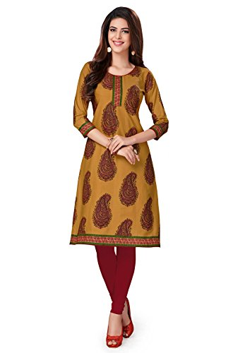 Salwar Studio Women's Brown & Beige Cotton Paisley, Floral Printed Unstitched Kurti Fabric (only Kurti Fabric)  available at amazon for Rs.475