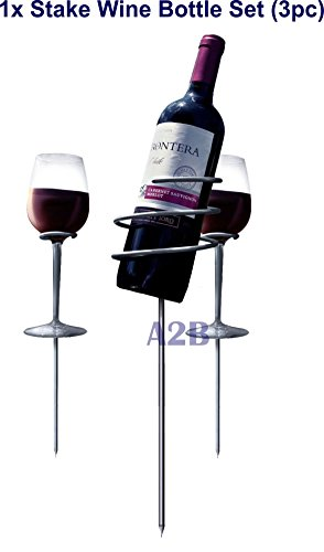Picnic Wine Bottle Holder Stake Set or (Wine Bottle Stopper) – holds wine & glasses in the ground, prevents from spilling breaking