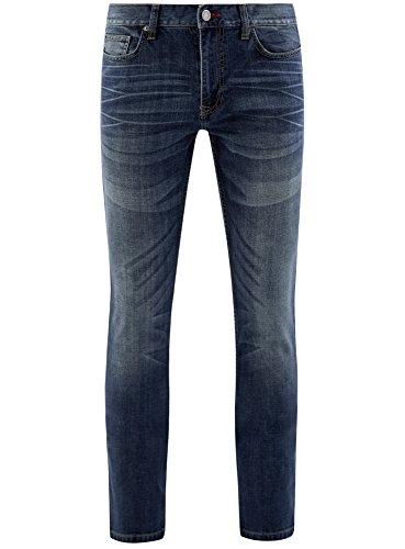 oodji Ultra Herren Jeans Slim Fit mit Ziernähten an den Seitentaschen Blau (7500W)