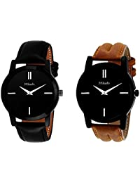 Mikado New Brown Slim And Black Slim Analog Watch Combo For Boy's And Men's With Genuine Leather Strap And Quartz...