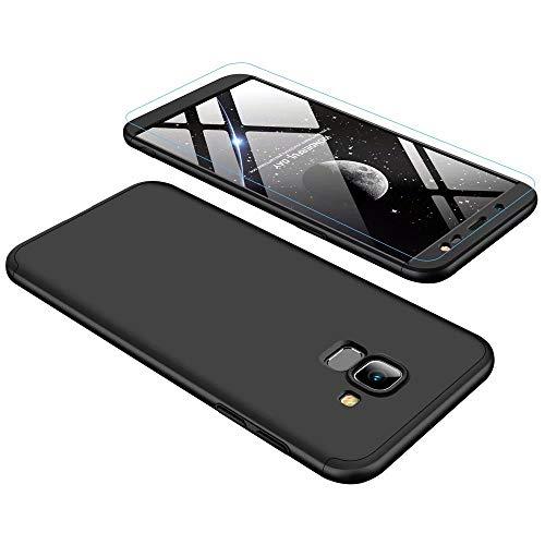 Lanpangzi Kompatibel mit Samsung Galaxy J6 2018 Hülle + Panzerglas, PC Hartschale 360 Grad Full-Cover Anti-Schock HandyHülle Anti-Kratz Stoßfänger Case mit Panzerglasfolie, Schwarz