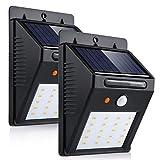 LEDMO® 2er weiß Solarleuchten Solarleuchte 20 LED solar wandleuchte außen solarleuchten Solarlampe Sicherheits Wetterfeste Solar Außenleuchte für Patio, Hof, Garten