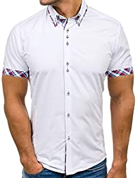 a4b8a35b67 OHQ Camisa para Hombre Negro Blanco Azul Rojo Armada Casual Camisa De Rayas  Manga Corta para Hombre Blusa De Cuello Alto…