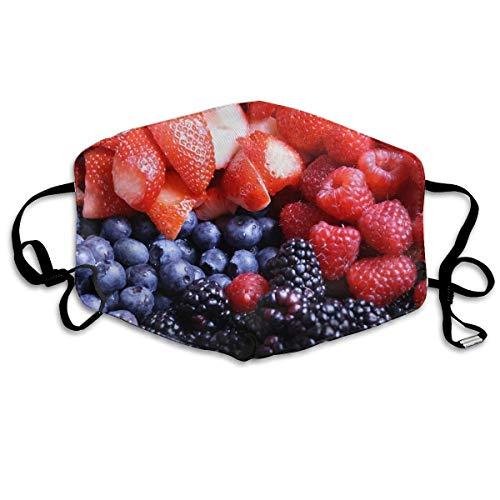 Vbnbvn Mundmaske,Wiederverwendbar Anti Staub Schutzhülle, Berries BlackBerry Raspberry Blueberry Strawberry Face Mouth Mask Unisex Fashion Breathable Anti-Dust Polyester Healthy Masks -