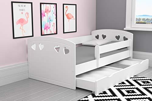 Kocot Kids Kinderbett Jugendbett 80x140 80x160 80x180 mit Rausfallschutz Matratze Schublade und Lattenrost Kinderbetten für Mädchen und Junge - Julia 180 cm -
