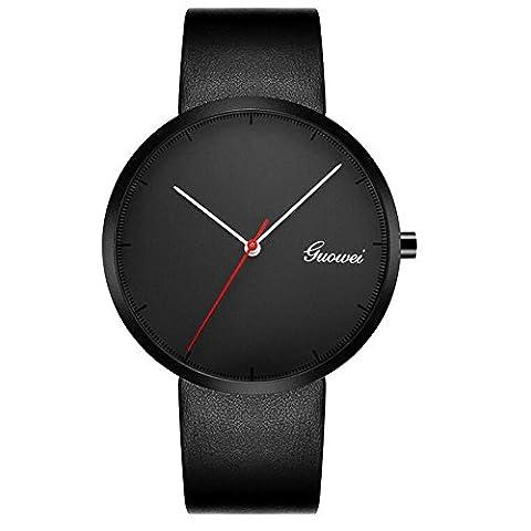 Longqi montre Mouvement à quartz Business Style montres avec bracelet cuir étanche pour homme montre bracelet