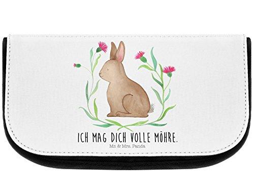 Mr. & Mrs. Panda Beutel, Kulturbeutel, Kosmetiktasche Hase sitzend mit Spruch - Farbe Weiß
