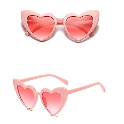 Honestyi Damen Retro Mode herzförmige Sonnenbrille integrierte UV Brille BZ650 Damen Pfirsich