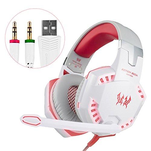 Gaming Headset mit Mikrofon, Noise Cancellation Surround Sound Über Over Ear Kopfhörer mit LED Licht, verdrahtete 3,5 MM Gaming-Kopfhörer für neue Xbox One, PS4, PC, Laptops, Mac, Ipad, iPhone 5, 6, 7, One Schlüssel Mic Stumm