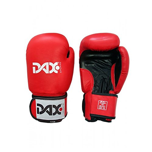 Dax Boxhandschuhe TT Leder Rot Schwarz (10 oz)
